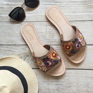 Seychelles Floral Embroidered Slide Sandals